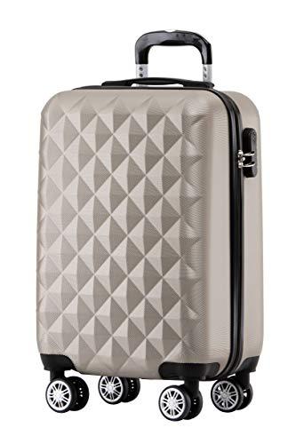 BEIBYE Zwillingsrollen 2066 Hartschale Trolley Koffer Reisekoffer Gepäck M-L-XL-Set (Champagner, M)