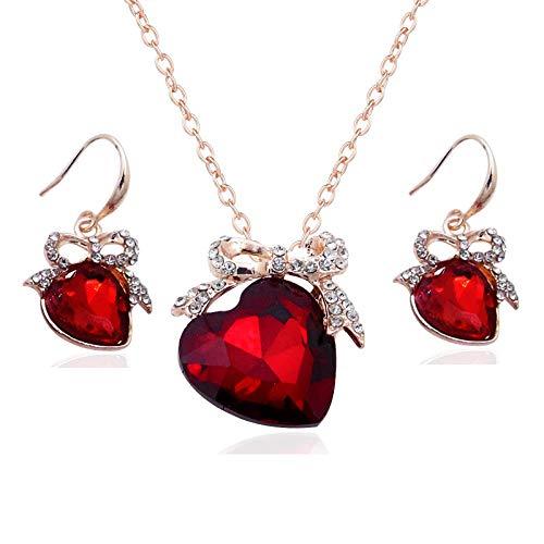 Pendientes De Collar Conjuntos Joyas,Vintage Para Mujeres Niñas Corazón Delicado Diamante Brillante Rubí Rojo Cristal Colgante Ceremonia Vestido De Banquete Novia Conjunto Clásico Regalo Para