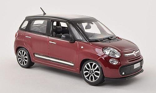 Fiat 500L, met.-dkl.-rouge matt-noir , Modellauto, Fertigmodell, Bburago 1 24 by Fiat