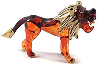 TINY CRYSTAL LION HAND BLOWN CLEAR GLASS ART LION FIGURINE ANIMALS COLLECTION GLASS BLOWN
