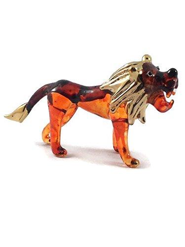 Mr_air_thai_Glass_Blown Tiny Crystal Lion Hand Blown Clear Glass Art Lion Figurine Animals Collection Glass Blown FBM