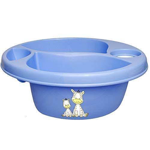 alles-meine.de GmbH Waschschüssel / Kinderwaschbecken - blau _ Tiere - Zebra _ Bieco - 3 Kammern - Baby - Putzeimer - Windeln Wickelschüssel - Windel Babywindel - für Kinder Mädc..