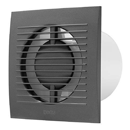 100mm / 4'' Bathroom Toilet Wall/Ceiling Extractor Fan With Timer - Ventilation Fan - Colour Anthracite Black