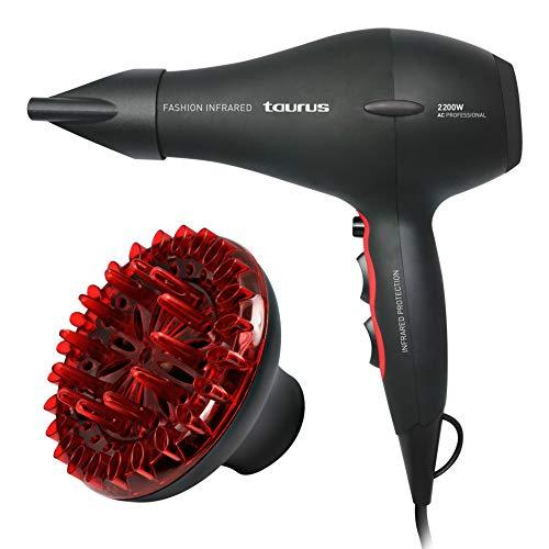 Taurus Fashion Infrared-Haartrockner (2200Watt, 2Leistungsstufen, 3Temperaturstufen, Keramikbeschichtung), Schwarz und Rot