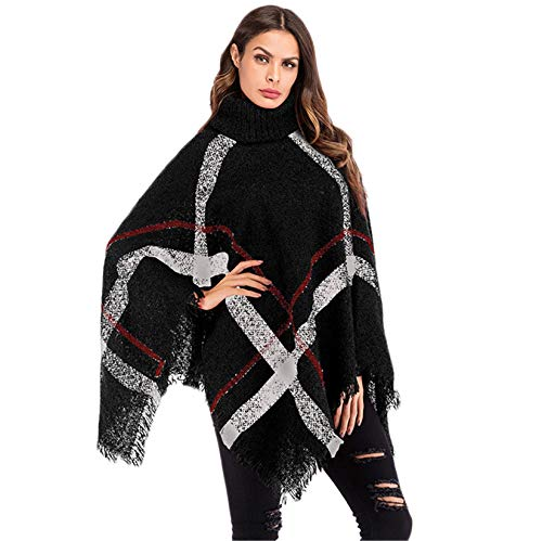 Andongnywell Womens Batwing Poncho Knit Cardigan Turtle Neck Sweater Cloak Cape Outwear Sleeve Check Tassel Coat (Black,One Size)