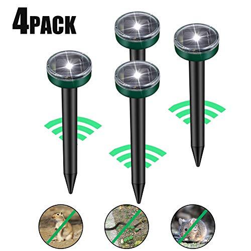 Viccioo 4 Piezas Repelente Solar Ultrasónico, Solar Ultrasónica para Topos con LED, Mole Repeller para Jardin Anti Topos, Ratones, Ratas, Serpientes, Insectos al Aire Libre