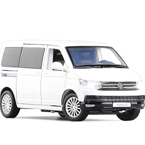 1/32 para Van Volkswagen-Multivan T6, Modelo De Coche De Aleación, Metal Fundido A Presión, MPV, Modelo De Coche, Luz De Sonido, Juguetes Extraíbles, Coche para Niños Colección (Color : White)