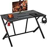 Gaming Desk 45' W x 29' D Home Office Computer Desk Racing Style Study DeskExtra Large Modern Ergonomic PC Carbon Fiber Writing Desk Table with Cup Holder Headphone Hook
