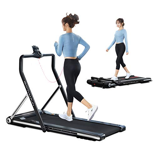 RHYTHM FUN Treadmill 2-in-1 Folding Running Treadmill Under Desk Treadmill with Foldable Handtrail Wide Tread Belt Slim Mini Quiet Home Treadmill with Smart Remote Control and Workout App