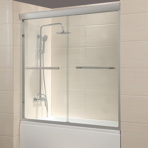 Mecor 60'W x 57.4'H Framed Bathtub Sliding Shower Door 1/4' Clear Glass with 2 Towel Bars Finish
