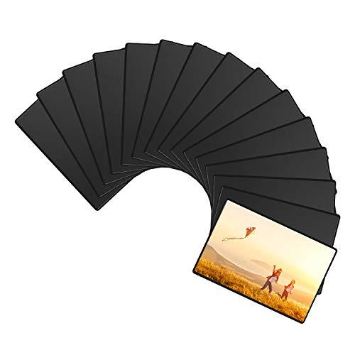Magnetische Fototaschen, Magiclfy 15 Stück Magnet Bilderrahmen Fotorahmen für Fotos Postkarten von 12,7 x 17,8 cm für Kühlschrank, Schwarz
