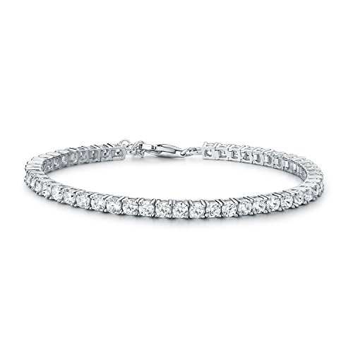 Diamond Treats Tennis Bracelet for Women, solid 925 STERLING SILVER with 3mm Sparkling Flawless White Cubic Zirconia. This 7.5-8 inch Ladies Eternity Bracelet is the Perfect Jewellery Gift for Women.