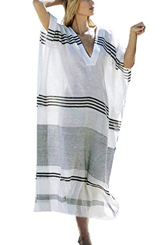 YouKD Verano Algodón Suelto Cuello En V Caftán Vestido Boho Beach Bikini Cover Up Bata de Talla Grande para Mujer