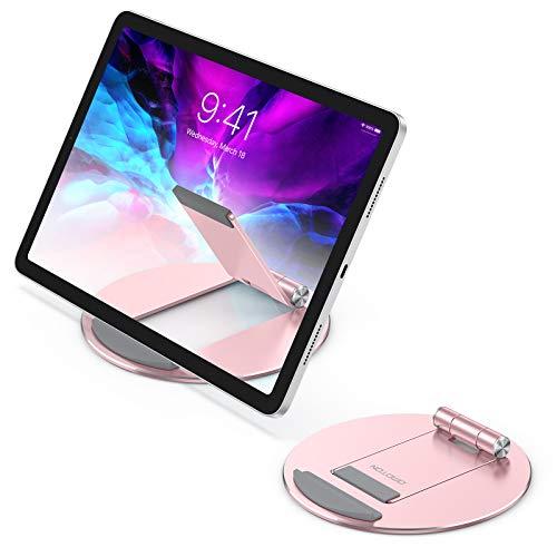 OMONTON Supporto Tablet, Stand Regolabile, Porta Tablet in Alluminio per Video e Corsi Online, Dock da Scrivania per iPad 8, Air 4, iPad PRO 12.9, iPad Mini, Samsung, Altri Tablet(4-10,5 ), Oro Rosa