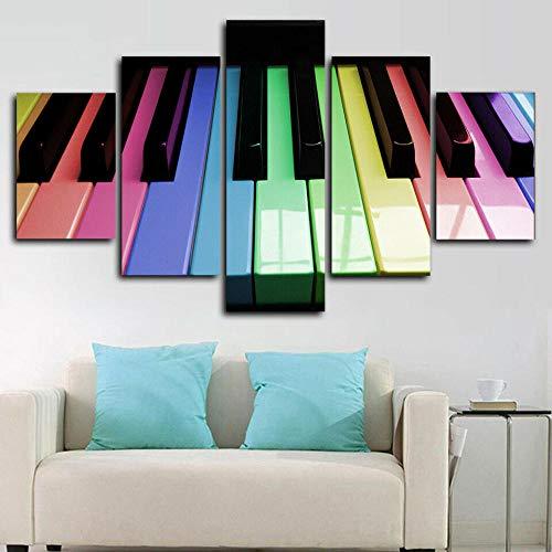 axqisqx 5-delige canvas afdrukken van moderne modulaire woningcultuur landschap kunst poster afbeelding schilderij geschenk pianotoetsen toetsenbord muziek 30x40cmx2pcs 30x60cmx2pcs 30x80cmx1pcs