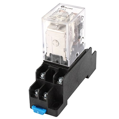 uxcell A14071800ux0297 35mm DIN Rail DPDT 8P General Purpose Power Relay AC 24V Coil W Socket