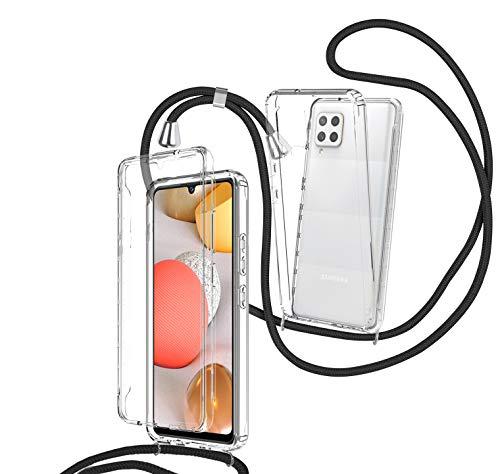 ZHXMALL 360 Grad Handykette Hülle Kompatibel mit Samsung Galaxy A42 5G,Necklace Handyhülle Schutzhülle mit Band,Transparent Stoßfestes Hülle zum Umhängen,Weiche TPU-Rückseite + PC Bumper Cover,Schwarz