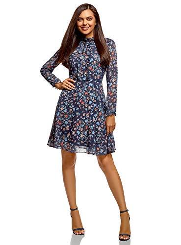 oodji Ultra Damen Bedrucktes Kleid mit Ausgestelltem Rock, Blau, DE 32 / EU 34 / XXS