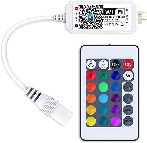 WIFI Controlador de Tira LED RGB, Control por Wifi/Aplicación, Controlador de Luces LED de 5 V-28 V para Alexa, Sistema Android e iOS, para Todas Las Tiras LED 3528 5050 2835