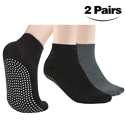 2 Pairs Non Slip Sock Anti Slip Skid Sock for Women Men, Grip Socks for Yoga Home Barre Pilates Hospital Workout