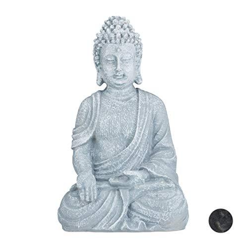 Relaxdays, hellgrau sitzende Figur, 40 cm hoch, Feng Shui, Outdoor, Garten Dekofigur, große Zen Buddha Statue