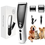 FiveHome Dog Clippers, Low Noise USB Rechargeable Pet Hair Clipper, Cordless Dog Grooming