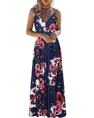 OUGES Womens Summer Deep V Neck Floral Adjustable Spaghetti Strap Beach Maxi Dress(Floral01,S)