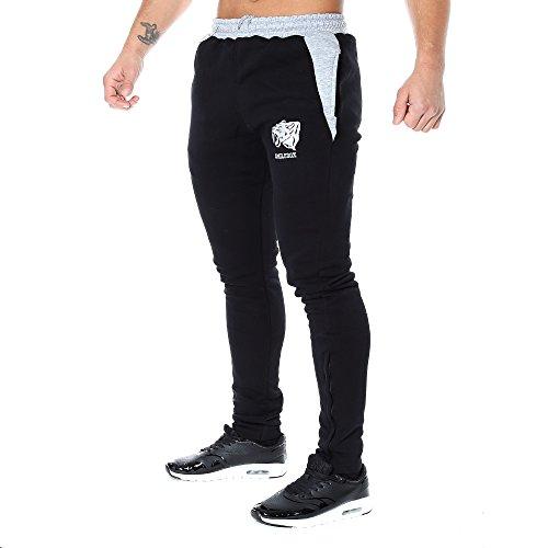 SMILODOX Slim Fit Herren Jogginghose 'Side Head' | Trainingshose für Sport Fitness Gym Training | Sporthose - Jogger Pants - Sweatpants Hosen - Freizeithose Lang, Farbe:Schwarz/Grau, Größe:S