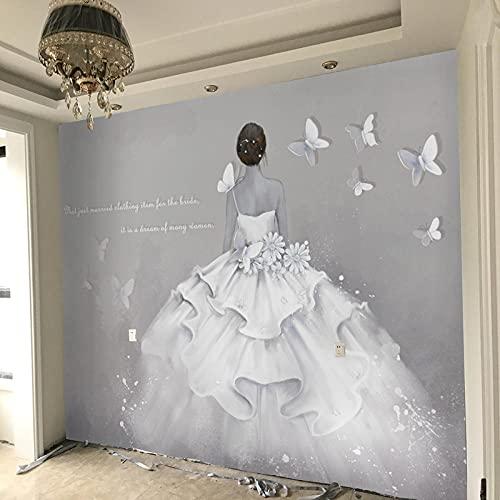 Moderno abstracto pintado a mano arte personalidad papel tapiz vestido de novia...
