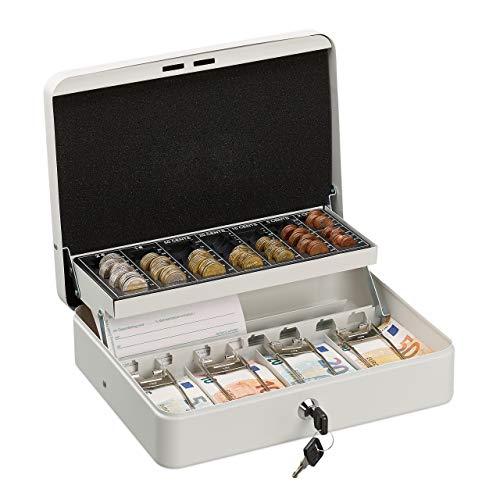 Relaxdays Geldkassette abschließbar, Münzzählbrett & 4 Scheinfächer, Geldkasse Eisen, HBT 8,5 x 30,5 x 24,5 cm, weiß