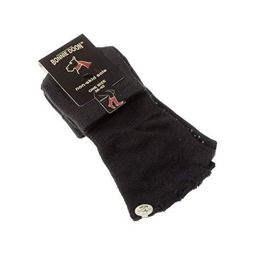 Bonnie Doon Socke über das Kalb - 1 paar - Mit zehen - Sohle mit Fußpads - Rutschfest - ohne Frotte - Pilates - Coton - Noir - Yoga toe sock - 36/42