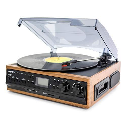WUBAILI Reproductor De Discos De Vinilo Bluetooth Multifunción, CD/FM Radio U Disco Tarjeta SD LP Audio Retro Reproductor De Discos Vintage Adornos para Sala De Estar,Amarillo