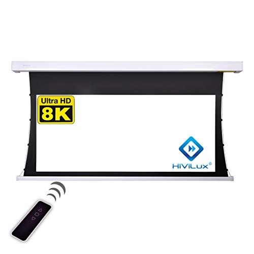 HiViLux TXN – Pantalla de proyector motorizada, ganancia 1,0, tela blanca profesional...