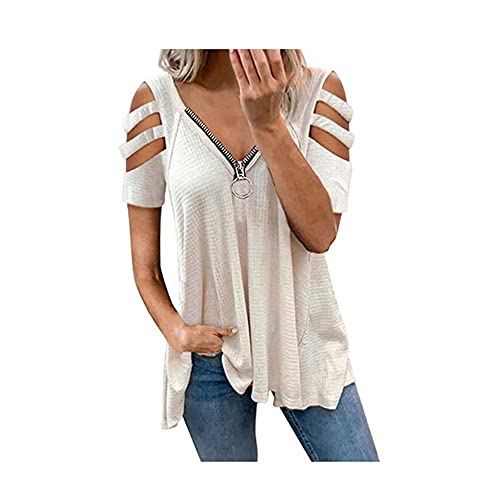 Camiseta para Mujer Blusa Sexy Cuello En V Cremallera Manga Corta Color Sólido Top,Blanco,3XL