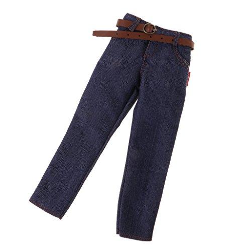 B Blesiya 1/6 Hombre Pantalones Vaqueros Cinturón de Tela Decoración para 12 '' Figurita Acción Male Dolls Accesorios - Vaqueros Clásicos