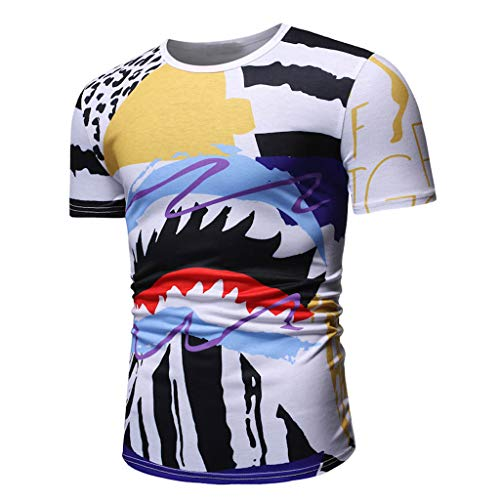 Tyoby Herren Freizeit T-Shirt,Original Hipster Nähen Revers Kurzärmliges Oberteil,Perfect Bequem(Blau,XXXL)