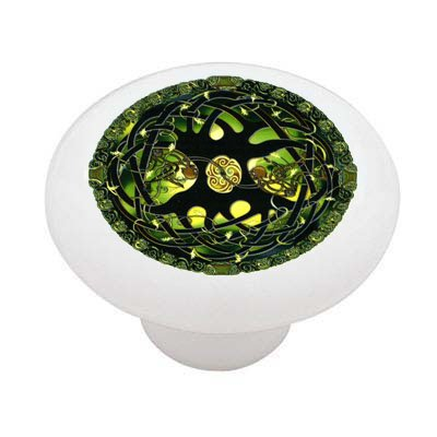 Celtic Emerald Tree of Life Ceramic Drawer Knob