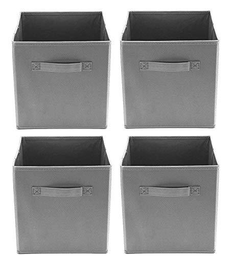 Clay Roberts Cubes de Rangement Pliables, Pack de 4, Gris, Boîtes de Rangement Ouvertes pour Maisons/Bureaux/Salle de Bains