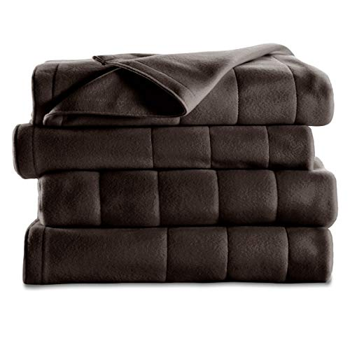 Sunbeam Heated Blanket | 10 Heat Settings, Quilted Fleece, Walnut, Queen - BSF9GQS-R470-13A00