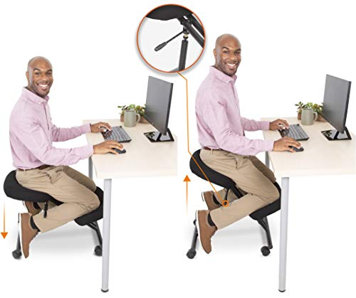 ProErgo Pneumatic Ergonomic Kneeling Chair | New & Improved! | Fully Adjustable Mobile Office Seating | Improve Posture to Relieve Neck & Back Pain | Easy Assembly | Use in Home, Office, or Classroom!
