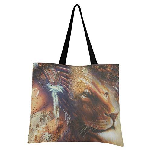 XIXIXIKO - Bolsa de lona ligera para mujer, diseño de león de plumas indias, para ir al gimnasio, playa, viajes diarios