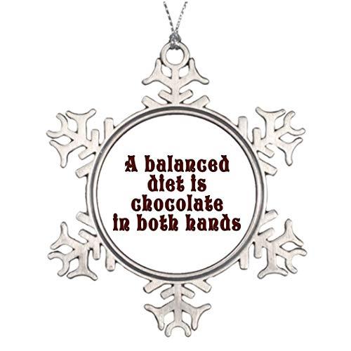 Monsety Grappige Sneeuwvlok Ornament Een evenwichtige Dieet Is Chocolade In Beide Handen Unieke Chocoholic Kerstmis Geschenken Ideeën voor Boom Decoreren