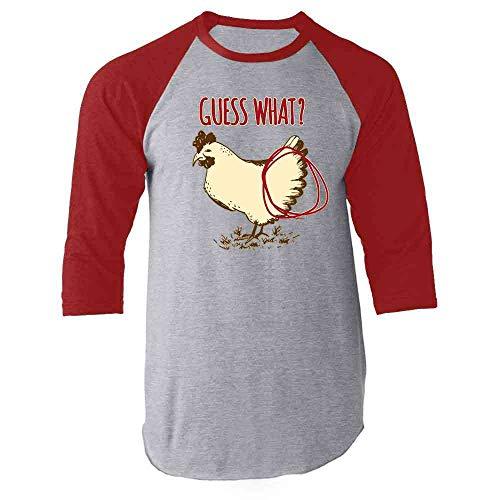 Guess What? Chicken Butt Funny Red XL Raglan Baseball Tee Shirt