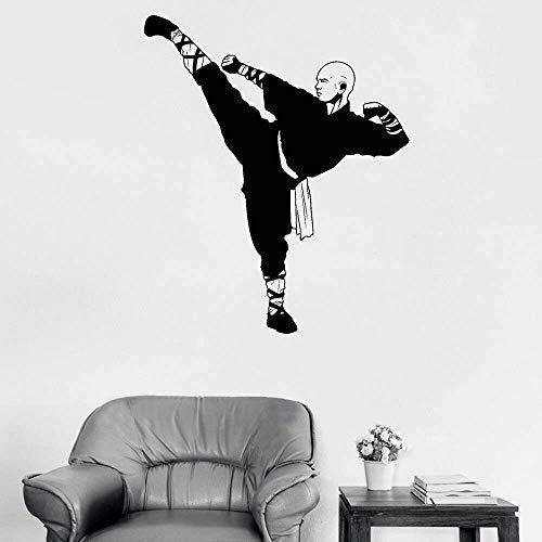 Chinesischer Kung Fu Shaolin Mönch Vinyl Wandtattoo Samurai Asian Art Sticker Größe:56 * 67CM