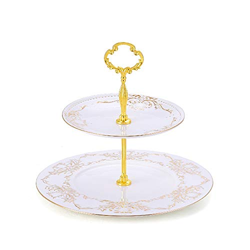 CL- De luxe européen bone china cake stand thé snack gâteau display stand salon décoration de bureau accessoires décoration de la maison, 2 tailles Supports à cupcakes (Size : 2 layer)