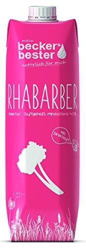 beckers bester Rhabarber-Nektar - 6er Pack - mit Direktsaft - Co2-neutral hergestellt – Vegan – Ohne Gentechnik – Glutenfrei – Laktosefrei - (6 x 1000 ml)