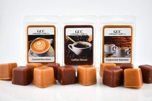 Coffee Lovers Scented Wax Melts - 3 Pack - Coffee House, Caramel Macchiato, Cappuccino Espresso