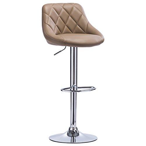 WOLTU BH23kk-1 1er Barhocker Barstuhl, leichte reinige Kunstleder, Gute gepolsterte Sitzfläche, Höhenverstellbar, 360° Drehbar, Farbwahl, in Khaki