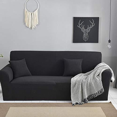 Omabeta Juego de funda de sofá elástica suave de color sólido poliéster y elastano para la vida del hogar, antiarrugas, antideslizante, suave y cómodo (asiento doble)