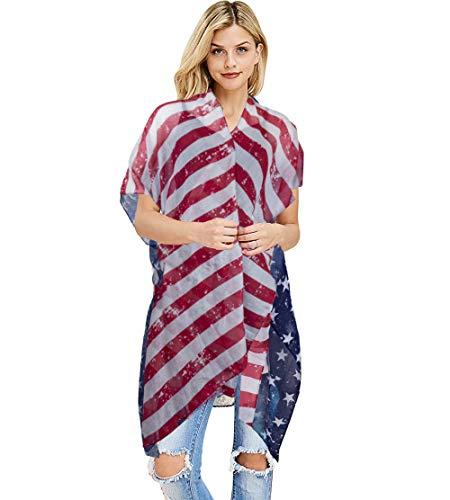 Maiô feminino Funky Junque, saída de praia, listras, bandeira americana, EUA, Stars & Stripes (Vintage), One Size